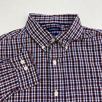 Croft & Barrow Button Up Shirt Men's Medium Long Sleeve Maroon Blue White Plaid