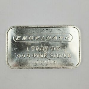 Engelhard 1 Troy Ounce .999 Fine Silver Bar Vintage Elongated Logo Serial Number