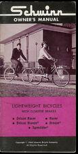 1968 Schwinn Lightweight Coaster Brake Bike Bicycle Factory Owner's Manual