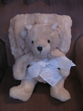 Dennis Basso Signature Bear and 55x65 Faux Fur Throw set Blonde Mink. NEW!