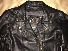 womens large mens small 5 Heads black leather motorcycle jacket L Kevlar five