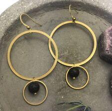Circle Statement Geometric Long Earrings Belmont Dangles Black Lava Beads Brass