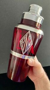 JUMBO 1930's ART DECO Ruby Red Glass Cocktail Shaker w/Sterling Silver Overlay