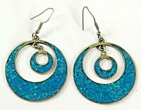 Moon in Moon Silver & Turquoise Hook Type Earrings Made in Mexico