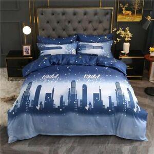 Gray Blue Duvet Cover Set Star Moon City Night Printed Duvet Cover Soft BedSheet
