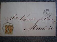 SOBRE AÑO 1860 EDIFIL 52 FECHADOR DE MÁLAGA RUEDA DE CARRETA Nº 6 LUJO