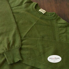 *Vintage 70's Pure Wool Fine Knit Olive Green Jumper High Neck Size 12