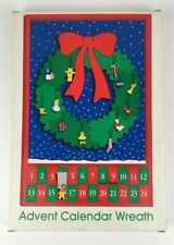 Dept. 56 Merry Christmas Wooden Advent Calendar Wreath Ornaments Orig Box Rare