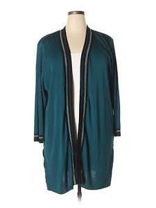 Women Exclusively Misook Green Lagenlook Open Front Cardigan Tunic Size 3X Plus