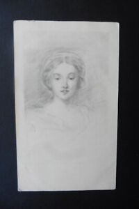 FRENCH SCHOOL 1908 - PORTRAIT OF A YOUNG WOMAN - SIGNED PENCIL DRAWING