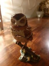 More details for bejeweled owl enamel trinket box ornament with magnetic hinged lid