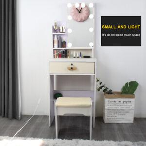 Small Dressing Table LED Sliding Mirror Dresser Bedroom Makeup Desk with Stool