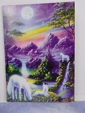 "Greeting Cards Unicorns moon field purple note card lot of 3 tree free 5"" X 7"""