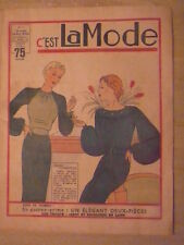 """C""""est LA MODE n° 7/ 16 février 1936 Tricot Jabot et encolures en laine"""