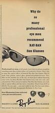 1962 Bausch & Lomb PRINT AD Ray-Ban Vintage Sunglasses Styles great detailed ad