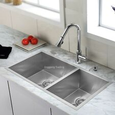 304 Handmade Stainless Steel Kitchen Sink Double Bowls (80cm x 45cm)
