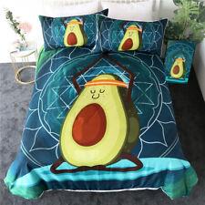 3D Cartoon Avocado Yoga Duvet Cover Dessert Bedding Quilt Cover PillowCase Queen