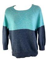 J CREW Wool Cashmere Dream Colorblock Women's Green Gray Sweater Sz XS