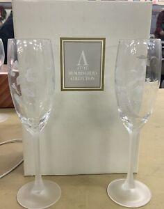 Avon Vintage Hummingbird 24/% Crystal Saucer Champagne Glass Set Of 2