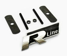 1VW R Line Grill Car Badge Black Emblem Polo Passat Golf Tiguan Touareg Grille