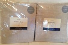 West Elm Two (2)  Belgian Flax Linen Curtains 48x108L NIP! Natural Cotton Lined