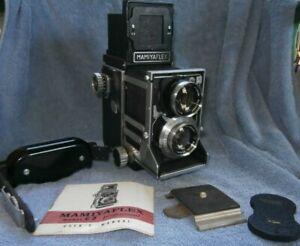 Vtg Mamiya MAMIYAFLEX C Film Camera w/Handle, Lenses, Cap As Is Untested
