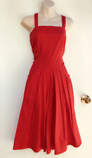 JUMP Vintage Styled RED Stretch Cotton Pleat & Pocket Detail Dress sz 8