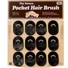 60 COUNT GENCO POCKET HAIR BRUSH DISPLAY SOLID BLACK COLOR WHOLESALE LOT DOZENS