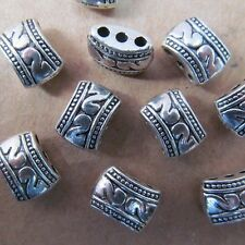 15PC 8*11mm Retro Tibet Silver 3 Holes Carved Spacer Beads Charms PJ38