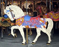 """Dallas John """"White Mount"""" Fine art serigraph of a carousel horse, SUBMIT OFFER!"""