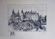 Albert ROBIDA Château de LOCHES Grande Lithographie originale Signée 32/125
