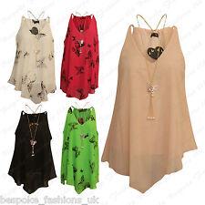 Ladies Women's Plain, Butterfly Chiffon Sleeveless V Hem Baggy Top + Necklace