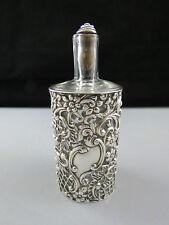 Large Antique Pierced Silver Sleeved Perfume Scent Bottle Chester 1900