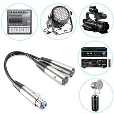New 6-Inch XLR Female to Dual XLR Inputs Male Y Splitter Audio Cable 0.3M