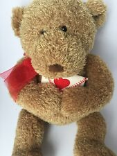"Gund Love Letter Tan Stuffed/Plush Soft 17"" Teddy Bear With Red Scraf"