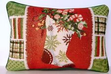 Christmas- Stocking w/ Patchwork  Border Metallic Highlights Tapestry Pillow New