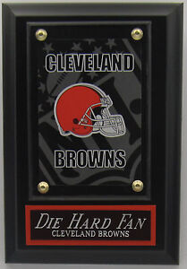 DIE HARD FAN CLEVELAND BROWNS LOGO CARD PLAQUE WITH EASEL FOR MAN CAVE DECOR