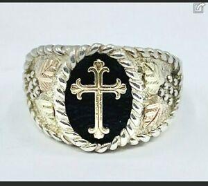 Mens Black Hills Gold 10K Gold Leaf Sterling Silver Cross Ring Size 11