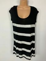 WOMENS NEXT BLACK&WHITE SEQUIN STRIPE CASUAL SLEEVELESS T SHIRT TOP SIZE UK 14