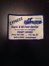 "Vtg Cypress Septic Oil Field Service 4"" Patch Sew On Maple Creek Saskatchewan SK"