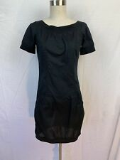 Woman's French Connection Black Short Sleeve Cotton Dress Size 2 Zipper Closure