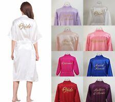 LONG Silk Satin Robe Bride Bridesmaid Dress Wedding Kimono Bathrobe Sleepwear