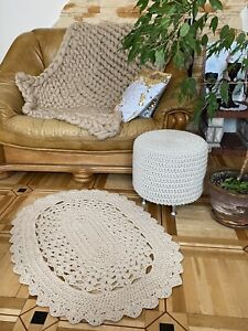 Crochet Cotton Yarn Rug; Hand Knitted; Made to Order; Beige in 2 Variations
