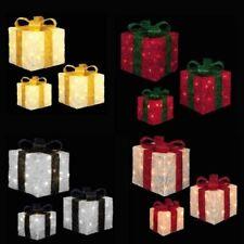 Premier Set of 3 Glitter LED Light up Christmas Parcels - Choose Colour