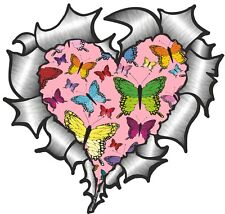 Ripped Torn Metal Look HEART With PINK Butterfly Pattern Vinyl car sticker Decal