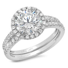 2.57ct Round Cut solitaire Halo Engagement Bridal Ring band set 14k White Gold
