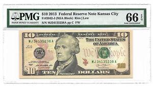 2013 $10 KANSAS CITY FRN, PMG GEM UNCIRCULATED 66 EPQ BANKNOTE