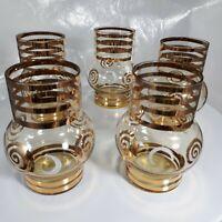 Vintage MCM Set of 5 Bohemian Gold Gilded Cordial Liqueur Glasses Barware