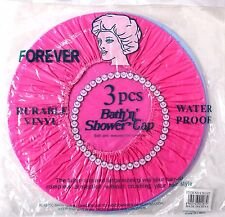 3PCS SHOWER CAPS - TRAVEL HAIR DYEING SHOWER STYLE BATHROOM PROTECTION REUSEABLE