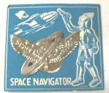 1950's Japan toy Tin SPACE NAVIGATOR Badge ~ MINT ON CARD!